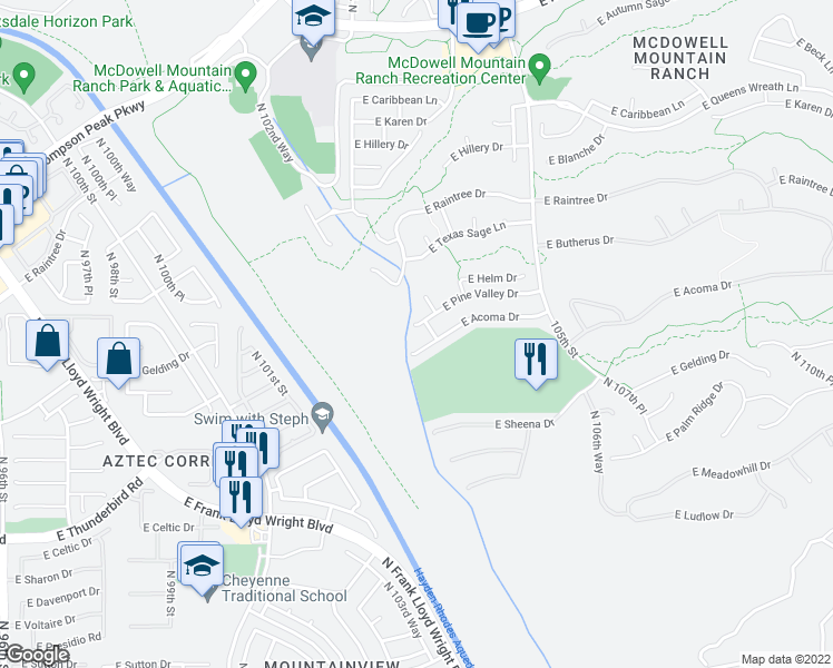 map of restaurants, bars, coffee shops, grocery stores, and more near 10327 East Pine Valley Drive in Scottsdale