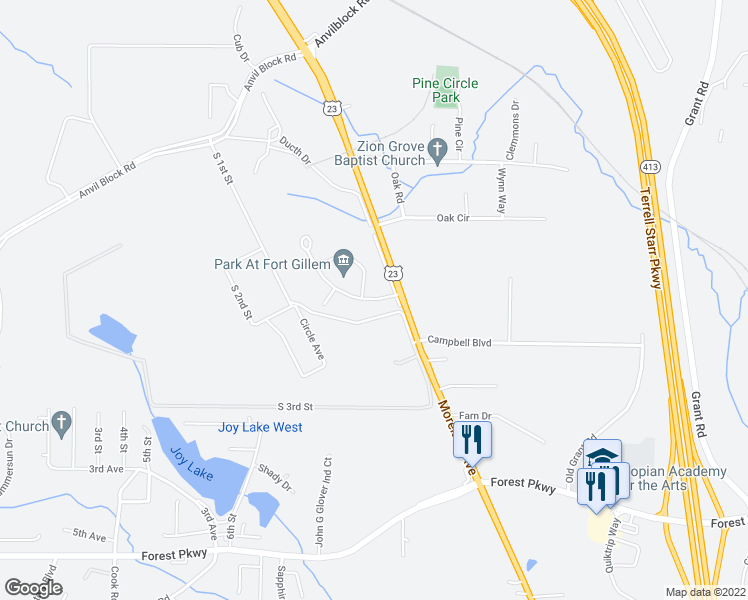 map of restaurants, bars, coffee shops, grocery stores, and more near 1-13 Holland Park Drive in Ellenwood