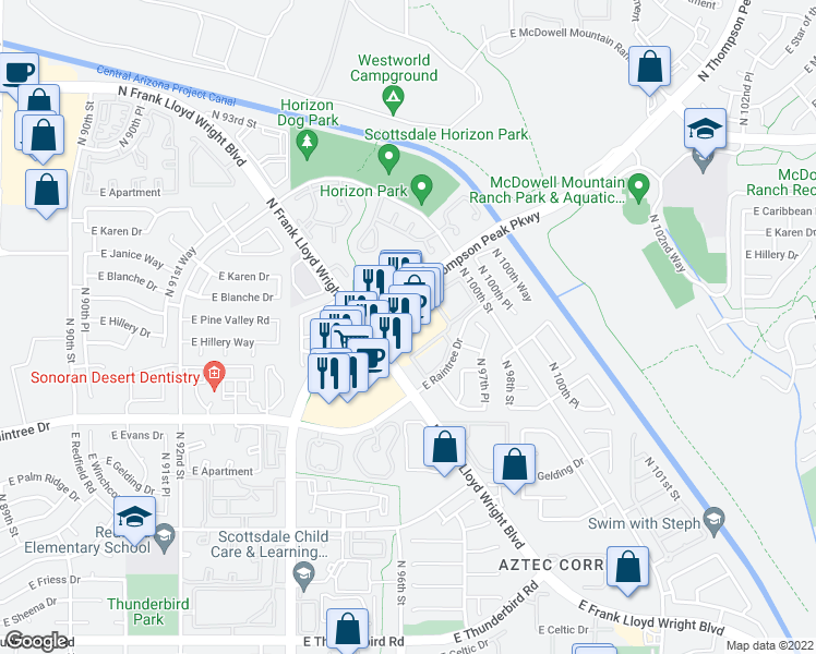 map of restaurants, bars, coffee shops, grocery stores, and more near 15095 North Thompson Peak Parkway in Scottsdale