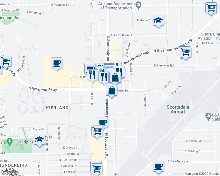 map of restaurants, bars, coffee shops, grocery stores, and more near 15015 N Scottsdale Rd in Scottsdale