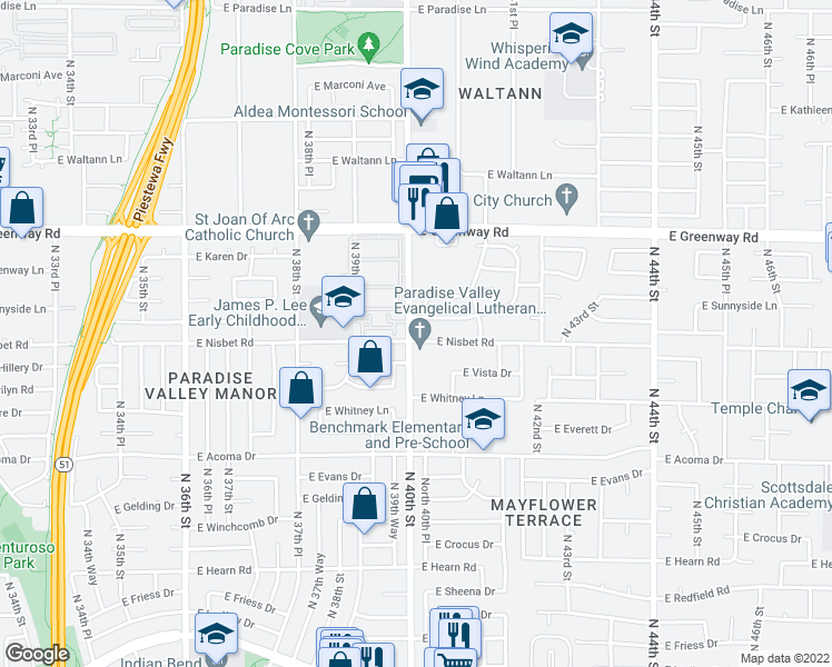map of restaurants, bars, coffee shops, grocery stores, and more near 4002 East Nisbet Road in Phoenix