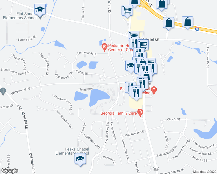 map of restaurants, bars, coffee shops, grocery stores, and more near 101-299 Loch Haven Drive Southeast in Conyers