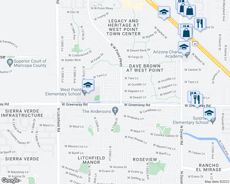 map of restaurants, bars, coffee shops, grocery stores, and more near 13535 W Saguaro Ln in Surprise