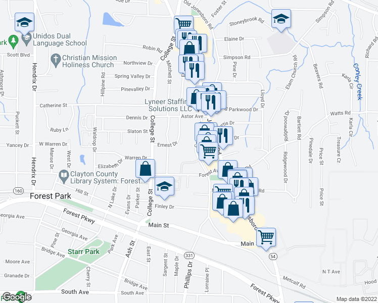 map of restaurants, bars, coffee shops, grocery stores, and more near 4735 Courtney Drive in Forest Park