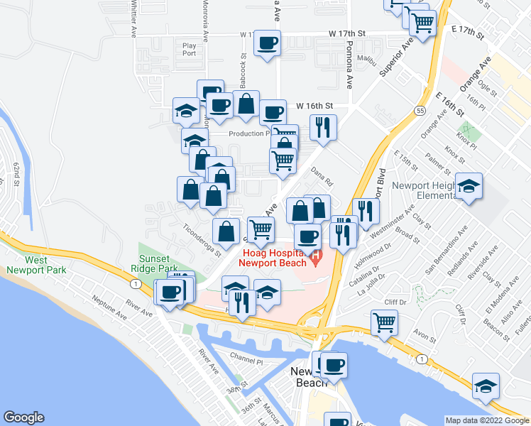 map of restaurants, bars, coffee shops, grocery stores, and more near Superior Avenue in Newport Beach