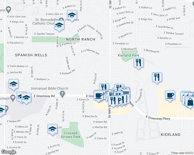 map of restaurants, bars, coffee shops, grocery stores, and more near 15625 North 63rd Street in Scottsdale
