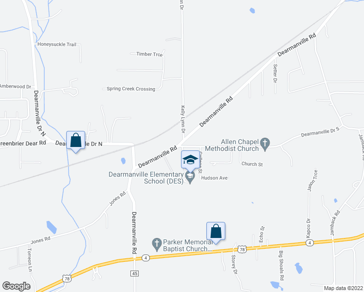 map of restaurants, bars, coffee shops, grocery stores, and more near 130 School Rd in Anniston
