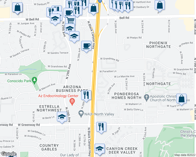map of restaurants, bars, coffee shops, grocery stores, and more near 16049 North 26th Avenue in Phoenix