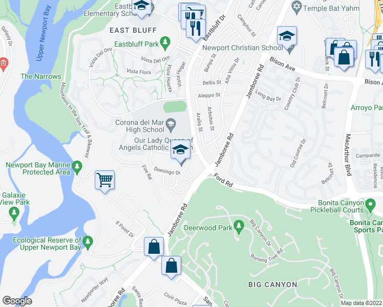 map of restaurants, bars, coffee shops, grocery stores, and more near 2135-2245 Eastbluff Drive in Newport Beach