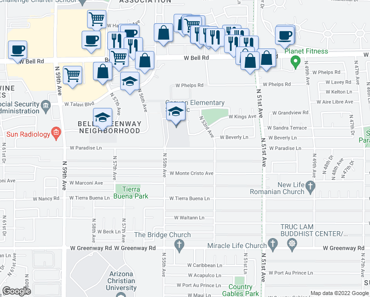 map of restaurants, bars, coffee shops, grocery stores, and more near 5333 W Kings Ave in Glendale