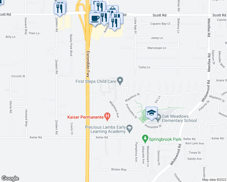 map of restaurants, bars, coffee shops, grocery stores, and more near 33610 Mapleton Ave in Murrieta