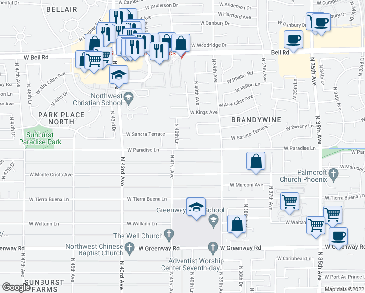 map of restaurants, bars, coffee shops, grocery stores, and more near 4034 West Paradise Lane in Phoenix