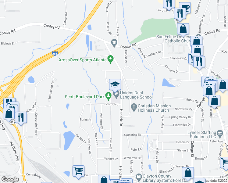 map of restaurants, bars, coffee shops, grocery stores, and more near 4501-4615 Puckett Street in Forest Park