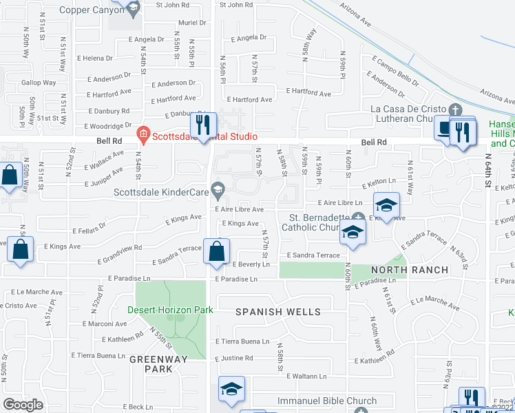 map of restaurants, bars, coffee shops, grocery stores, and more near 5704 East Aire Libre Avenue in Scottsdale