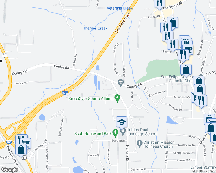 map of restaurants, bars, coffee shops, grocery stores, and more near 4241 Hendrix Drive in Forest Park