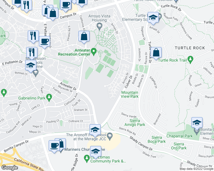 map of restaurants, bars, coffee shops, grocery stores, and more near 63412 Arroyo Drive in Irvine