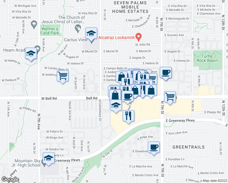 map of restaurants, bars, coffee shops, grocery stores, and more near 3 East Meadow Drive in Phoenix