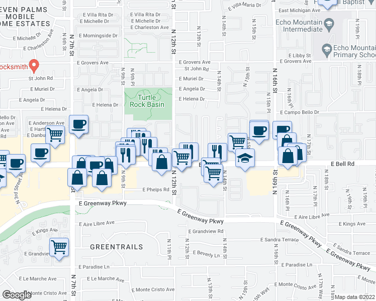 map of restaurants, bars, coffee shops, grocery stores, and more near 17091-17267 N 12th St in Phoenix