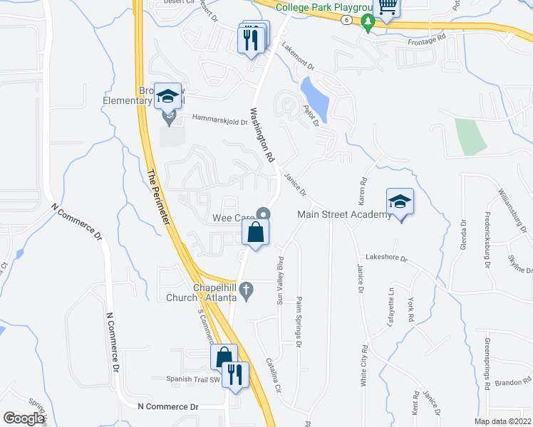 map of restaurants, bars, coffee shops, grocery stores, and more near 4065-4073 Washington Road in East Point