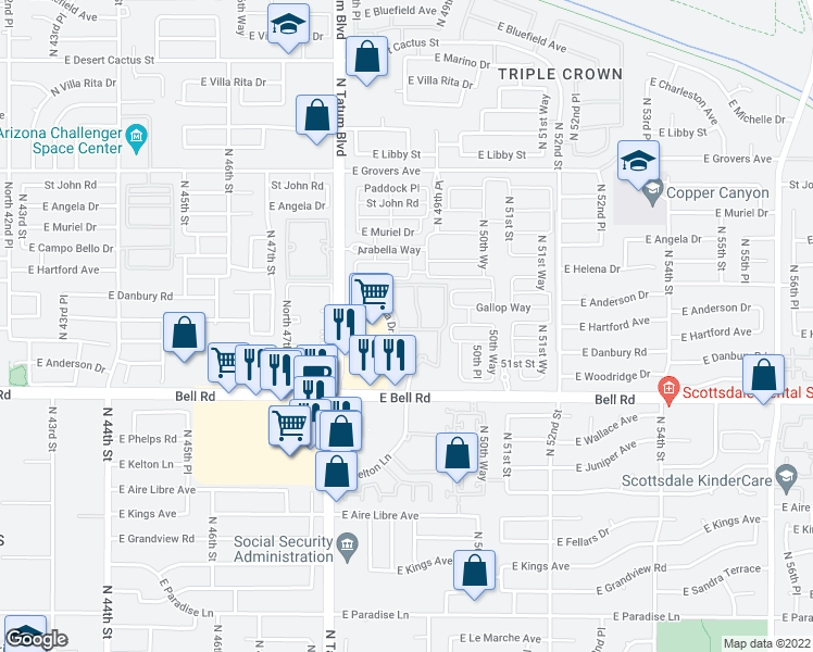 map of restaurants, bars, coffee shops, grocery stores, and more near 16 East Angela Drive in Scottsdale