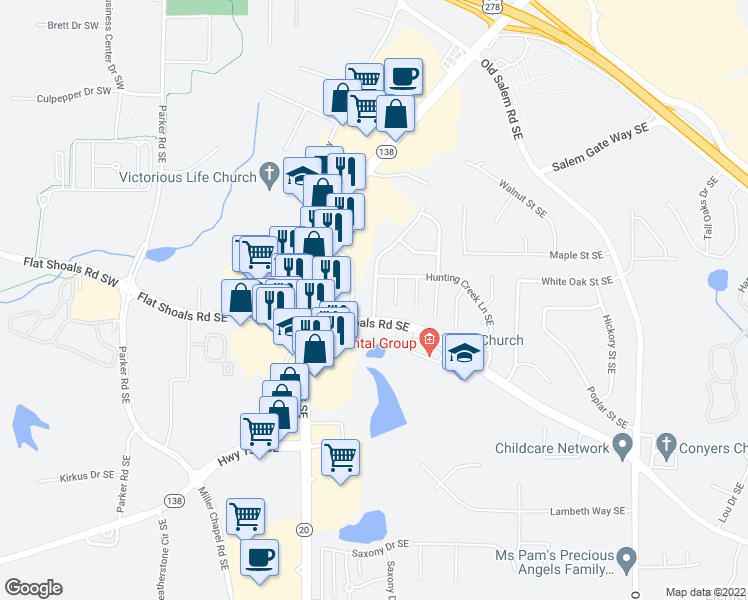 map of restaurants, bars, coffee shops, grocery stores, and more near 1712-1798 Hunting Creek Drive Southeast in Conyers