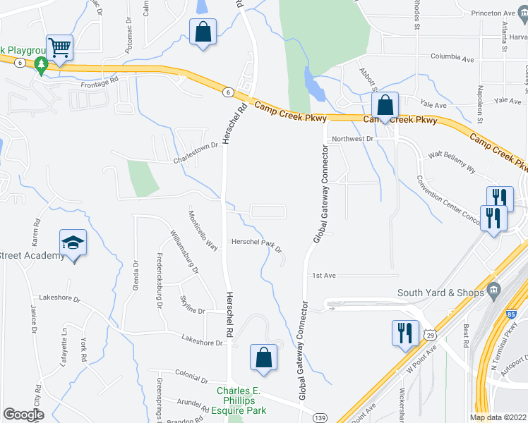 map of restaurants, bars, coffee shops, grocery stores, and more near 4060 Herschel Road in Atlanta