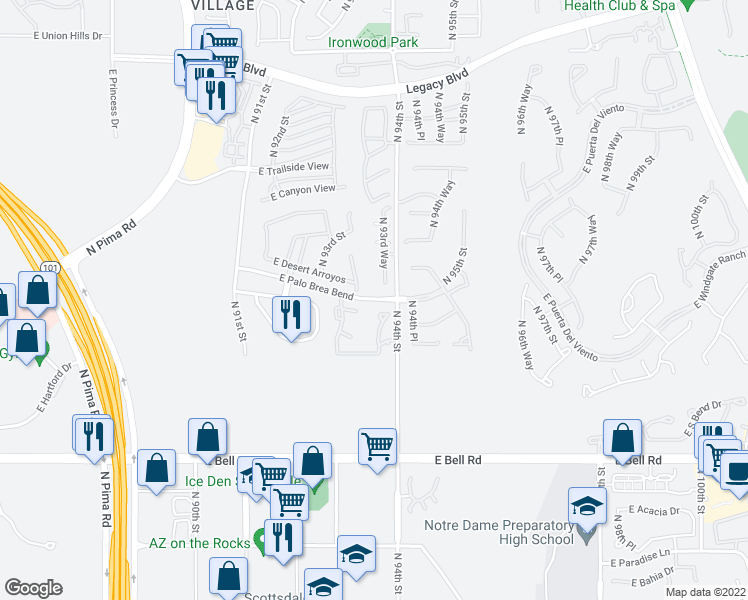 map of restaurants, bars, coffee shops, grocery stores, and more near 17462 North 94th Street in Scottsdale