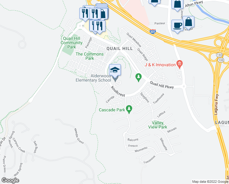 map of restaurants, bars, coffee shops, grocery stores, and more near 91 Canopy in Irvine