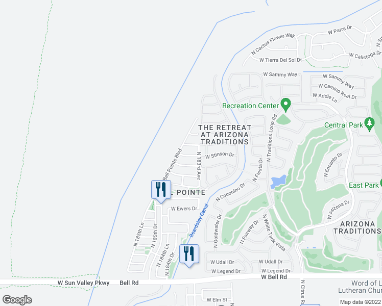 map of restaurants, bars, coffee shops, grocery stores, and more near 18356 W Stinson Dr in Surprise