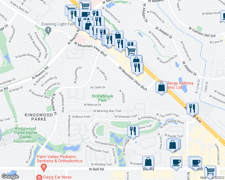 map of restaurants, bars, coffee shops, grocery stores, and more near 14342 W Ely Dr in Surprise
