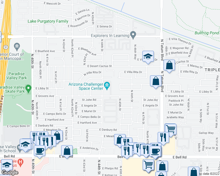 map of restaurants, bars, coffee shops, grocery stores, and more near 17851-17999 N 44th St in Phoenix
