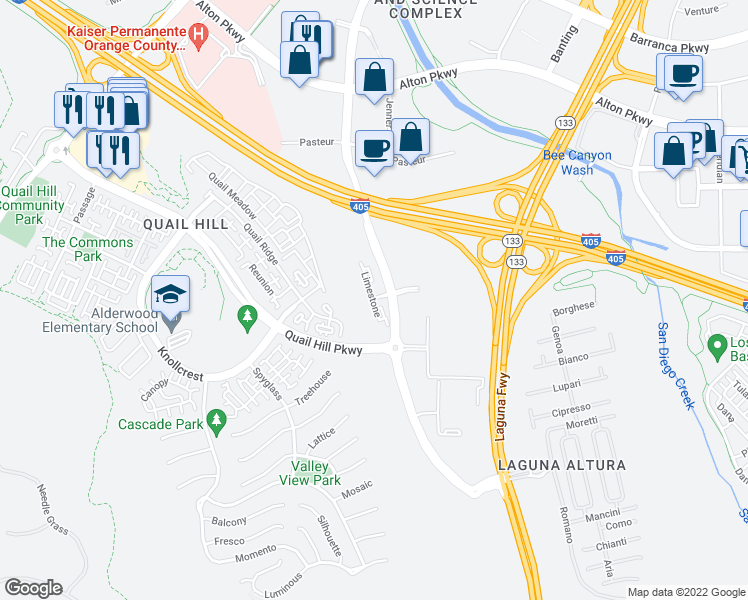map of restaurants, bars, coffee shops, grocery stores, and more near 400 Limestone in Irvine
