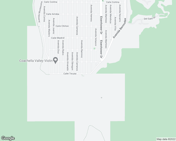 map of restaurants, bars, coffee shops, grocery stores, and more near 54940 Avenida Vallejo in La Quinta