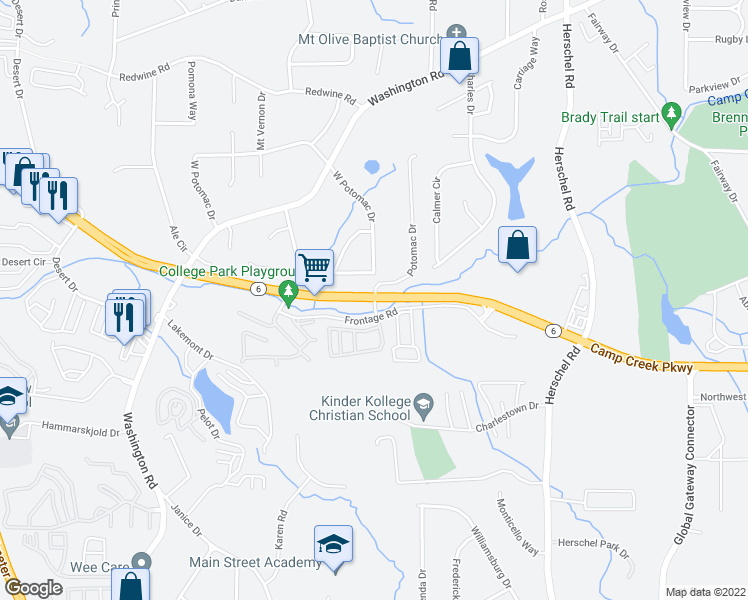 map of restaurants, bars, coffee shops, grocery stores, and more near 3798 Potomac Drive in College Park