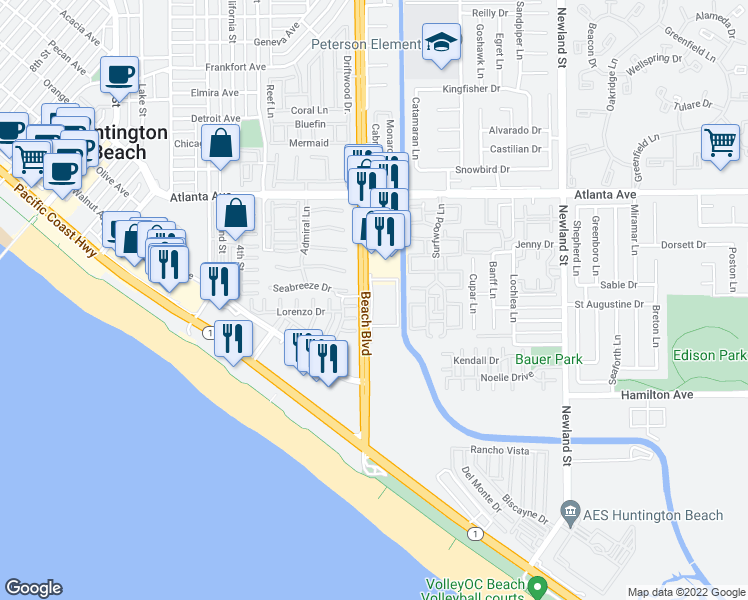 map of restaurants, bars, coffee shops, grocery stores, and more near in Huntington Beach
