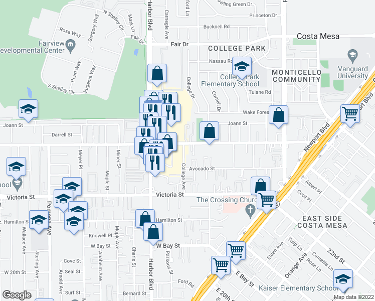 map of restaurants, bars, coffee shops, grocery stores, and more near 2290 College Ave in Costa Mesa