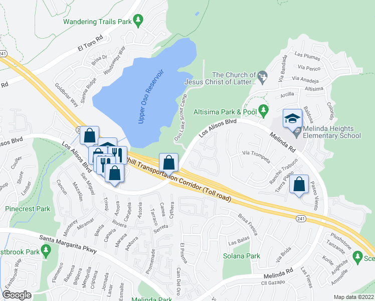 map of restaurants, bars, coffee shops, grocery stores, and more near Oso Lake Scout Camp in Rancho Santa Margarita