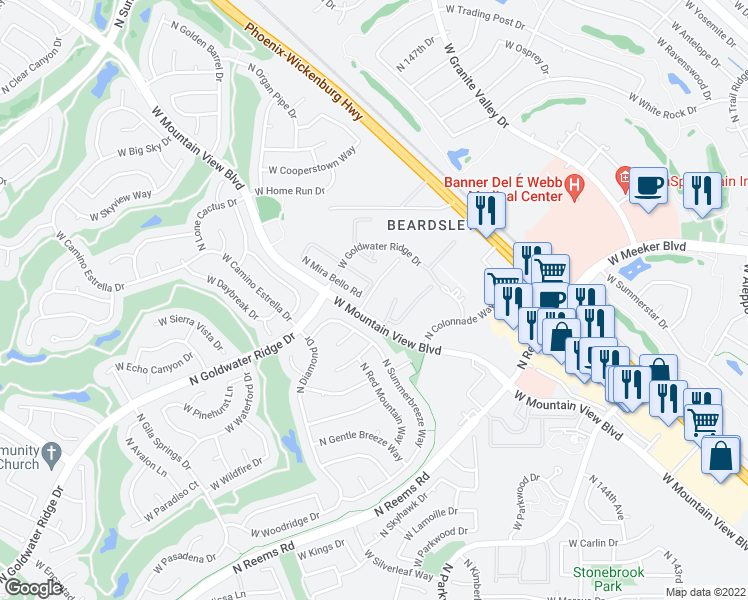 map of restaurants, bars, coffee shops, grocery stores, and more near 14950 W Mountain View Blvd in Surprise