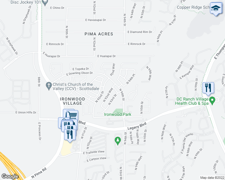 map of restaurants, bars, coffee shops, grocery stores, and more near 9275 East Siesta Lane in Scottsdale