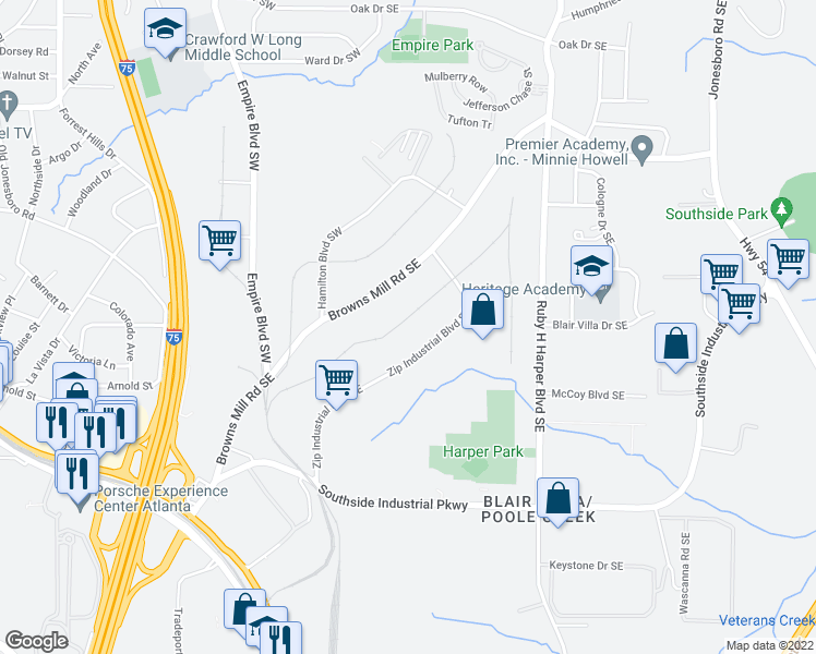 map of restaurants, bars, coffee shops, grocery stores, and more near 3530 Zip Industrial Boulevard Southeast in Atlanta