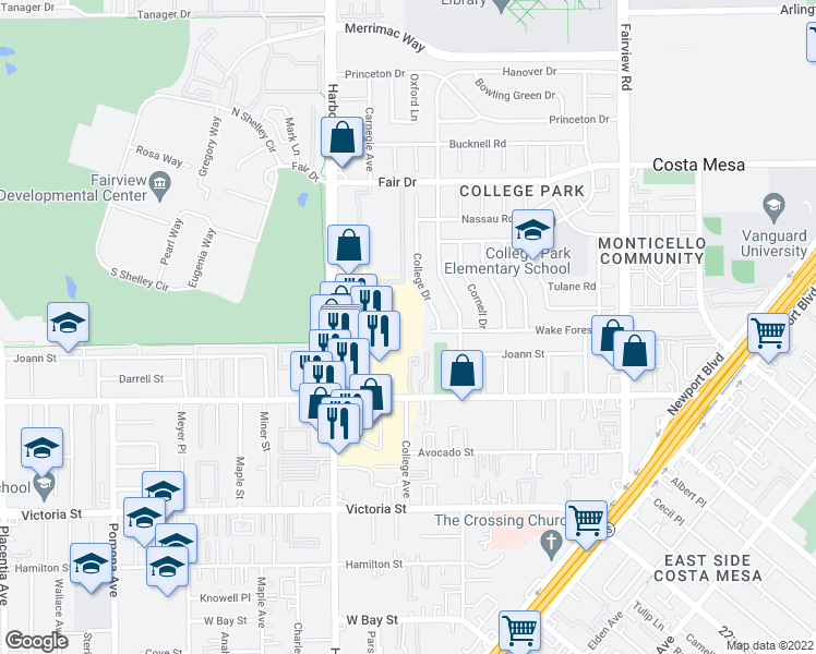 map of restaurants, bars, coffee shops, grocery stores, and more near 28 in Costa Mesa