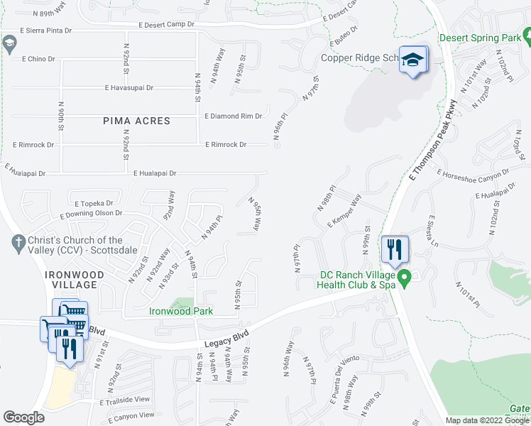 map of restaurants, bars, coffee shops, grocery stores, and more near 19079 N 95th Way in Scottsdale