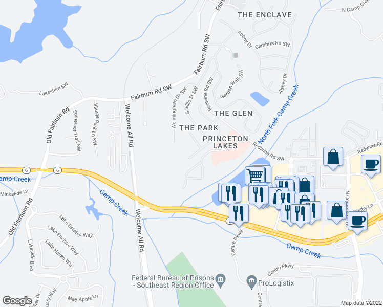 map of restaurants, bars, coffee shops, grocery stores, and more near 3291 Wellington Walk SW in Atlanta