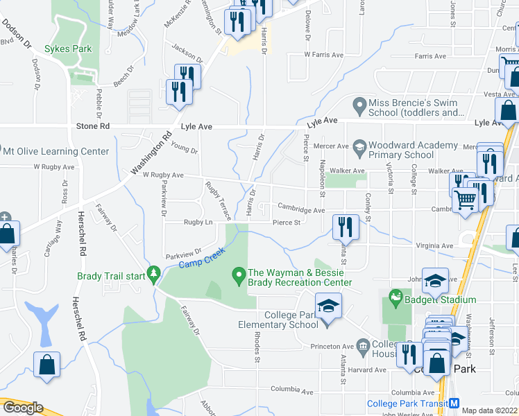 map of restaurants, bars, coffee shops, grocery stores, and more near 3445 Almand Dr in College Park
