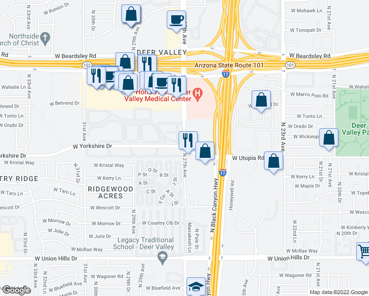 map of restaurants, bars, coffee shops, grocery stores, and more near N 27th Ave & W Yorkshire Dr in Phoenix