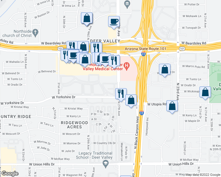 map of restaurants, bars, coffee shops, grocery stores, and more near 2702 W Yorkshire Dr in Phoenix