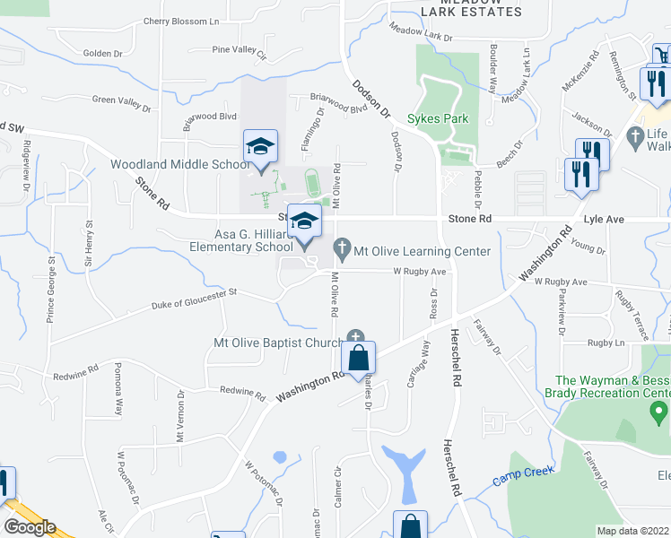 map of restaurants, bars, coffee shops, grocery stores, and more near 3346 Mt Olive Rd in Atlanta