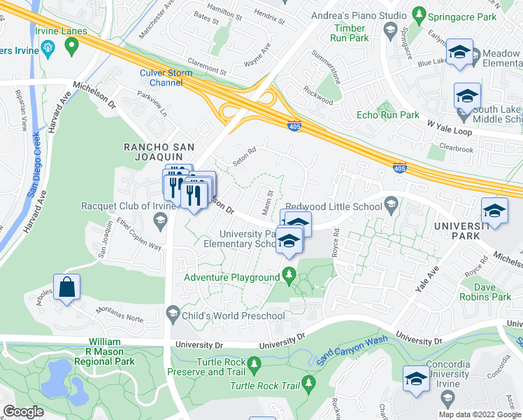 map of restaurants, bars, coffee shops, grocery stores, and more near 45 Mann St in Irvine