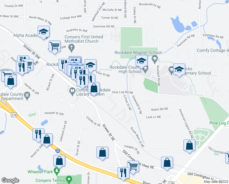 map of restaurants, bars, coffee shops, grocery stores, and more near 1085 Pine Street Northeast in Conyers