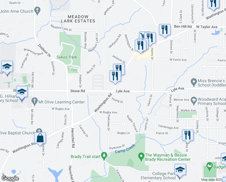 map of restaurants, bars, coffee shops, grocery stores, and more near Washington Rd & Stone Rd in Atlanta